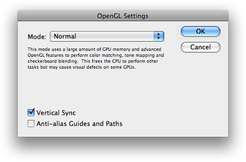 Photopshop CS5 OpenGL Settings